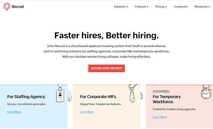 best saas recruitment management software small medium sized business zoho recruit
