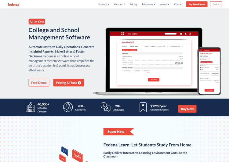 best school information management system sims software fedena